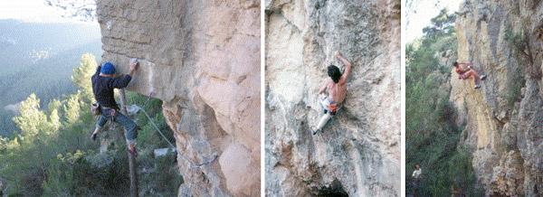 Escalando vias cortas en los Bordillos de Noelia, Tunel del Extrecho y el Averno