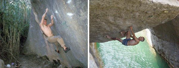 Boulder en la famosa Patera (Kin Gef) y el Boulder de la Campana  (Pozas de la Maimona)